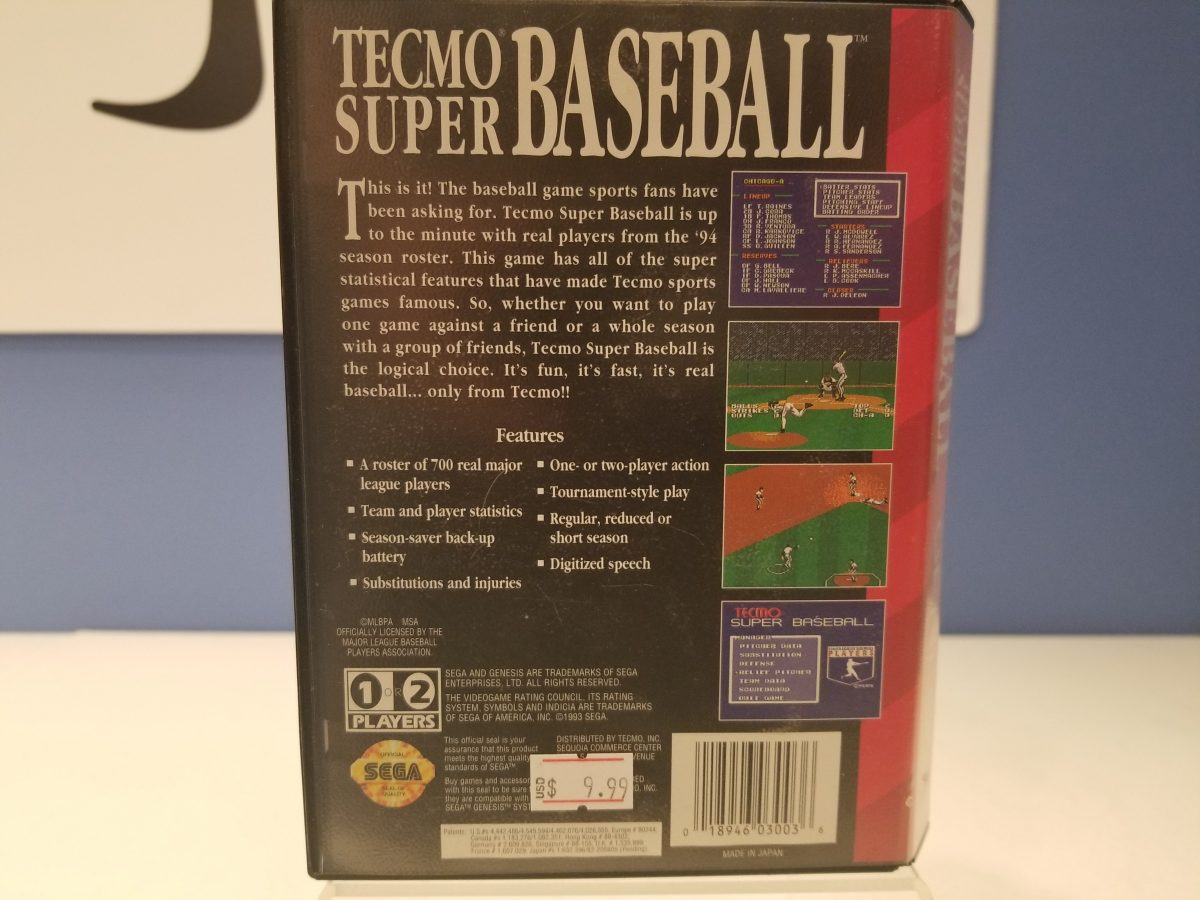 Tecmo Super Baseball Back Cover