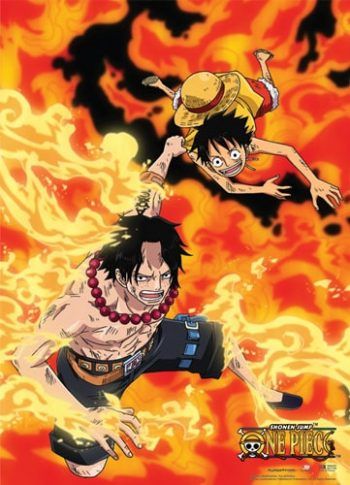 Luffy and Ace in Flames Wall Scroll