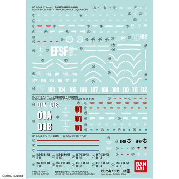 Water slide decal set for the 1/144 High Grade Mobile Suit Gundam The Origin Multiuse - Set 113