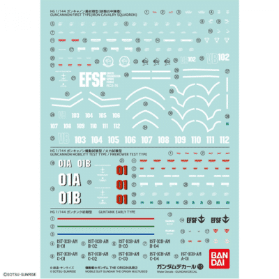 Water slide decal set for the 1/144 High Grade Mobile Suit Gundam The Origin Multiuse - Set 113