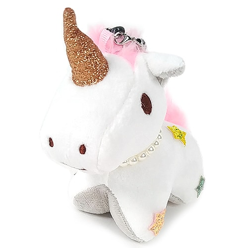 Unicorn Keychain Plush - White Front
