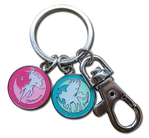 Chibi Moon and Pegasus Metal Keychain