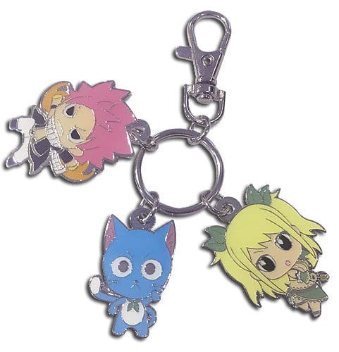 SD Natsu, Happy and Lucy Metal Keychain