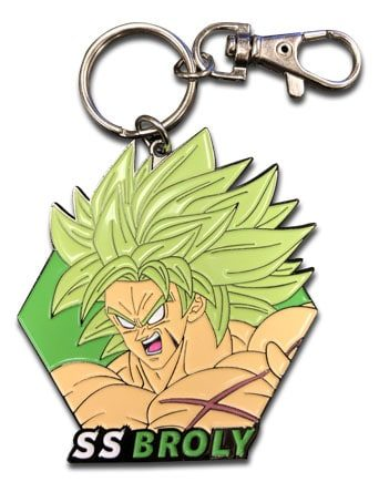 Super Saiyan Broly Face Metal Keychain Pose 1