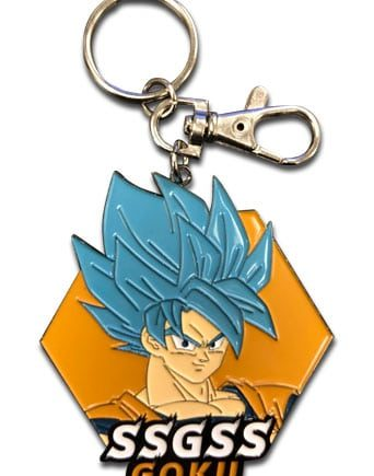 Super Saiyan Blue Goku Face Metal Keychain Pose 1