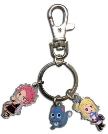 SD Natsu, Happy and Lucy Metal Keychain Version 2 Pose 1