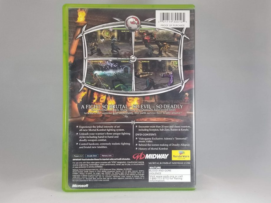 Mortal Kombat Deadly Alliance Back