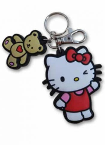 Hello Kitty With Bear PVC Keychain