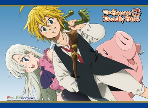 The Seven Deadly Sins Meliodas, Elizabeth & Hawk Wall Scroll