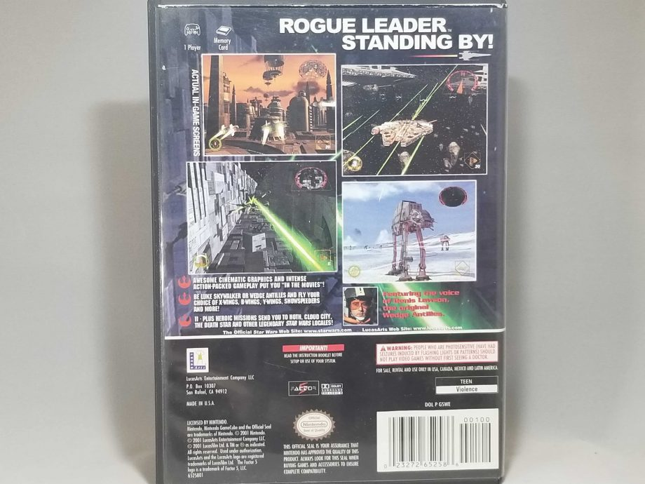 Star Wars Rogue Leader Rouge Squadron II Back