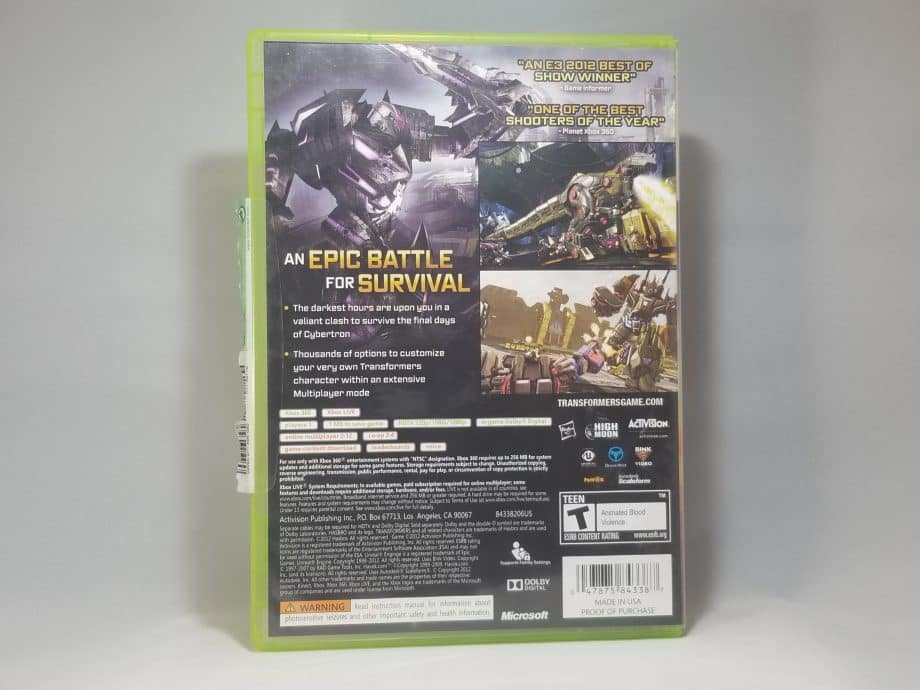 Transformers Fall Of Cybertron Back