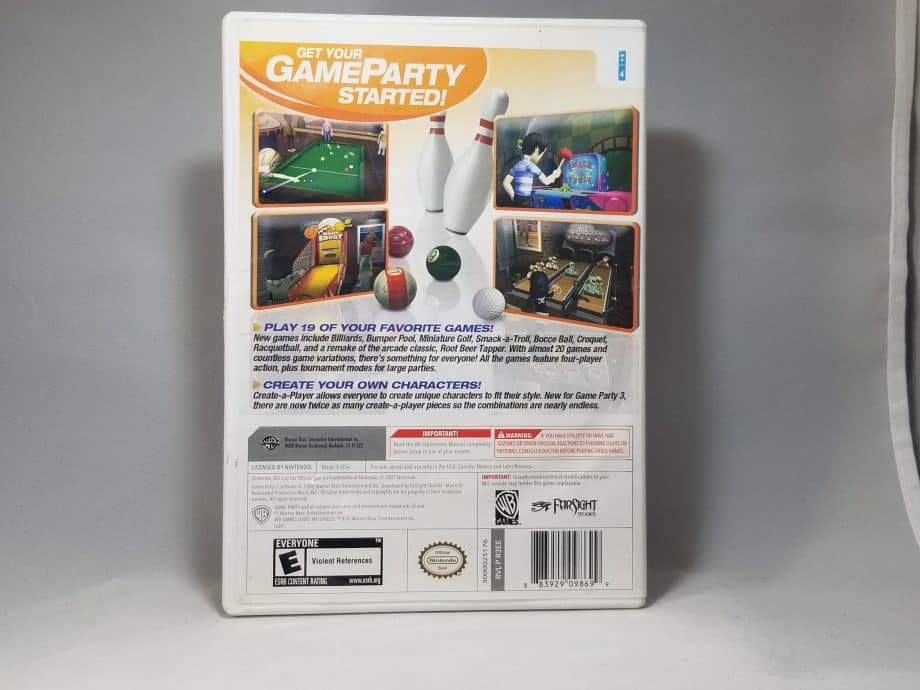 Game Party 3 Back