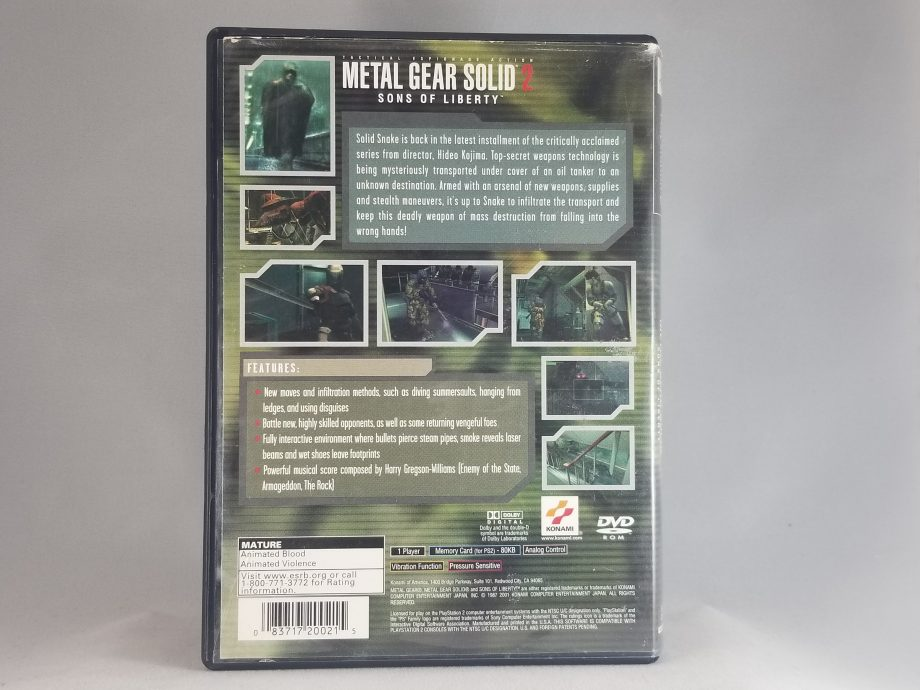 Metal Gear Solid 2 Sons Of Liberty Back