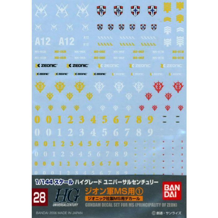 Gundam Decal 1/144 High Grade MS Principality Of Zeon No. 28