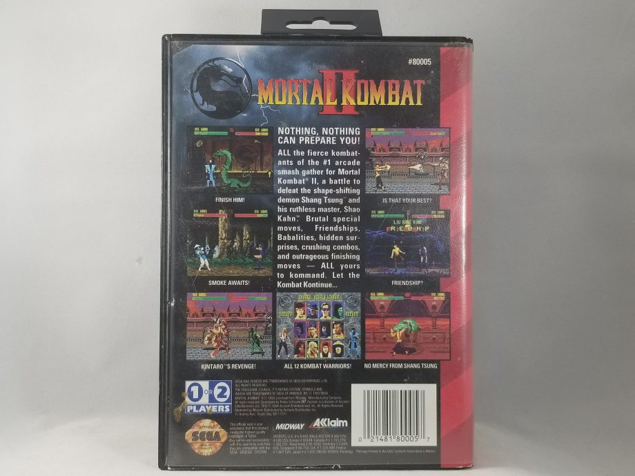 Mortal Kombat II Back