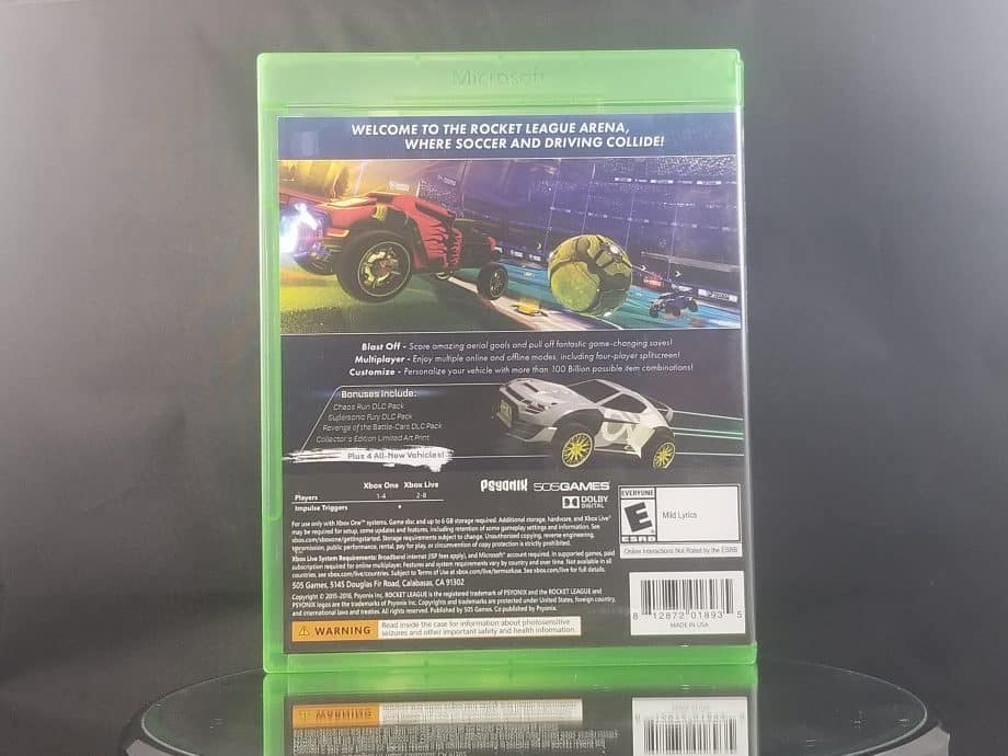 Rocket League Collectors Edition Back