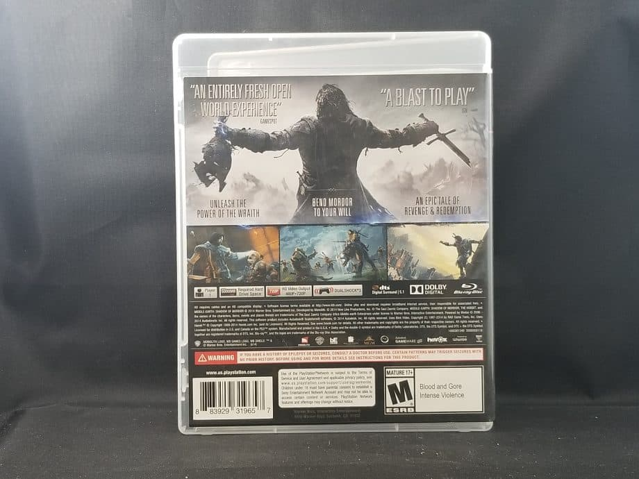 Middle Earth Shadow Of Mordor Back