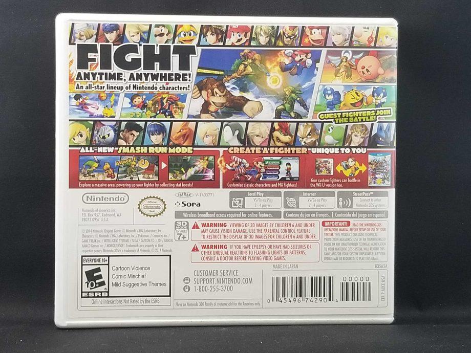 Super Smash Bros For Nintendo 3DS Back